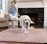 Gorilla Grip Original Faux-Chinchilla Area Rug, 4x6 FT, Many Colors, Soft Cozy Pile Washable Kids Carpet, Rugs for Floor, Luxury Shag Carpets for Home, Nursery, Bed and Living Room, Dusty Rose
