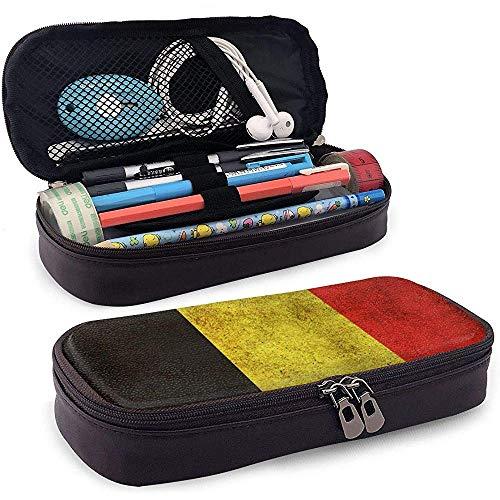 Estuche de lápices de cuero de gran capacidad de bandera de Bélgica Estuche de lápices Estuche de papelería Organizador de caja Organizador de maquillaje de oficina Bolso de papelería para estudiantes