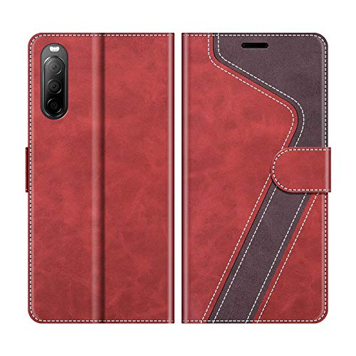 MOBESV Handyhülle für Sony Xperia 10 II Hülle Leder, Sony Xperia 10 II Klapphülle Handytasche Hülle für Sony Xperia 10 II Handy Hüllen, Modisch Rot