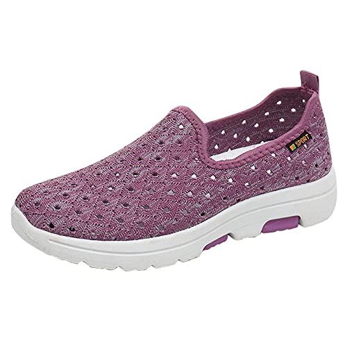 URIBAKY - Zapatillas deportivas planas para mujer, cómodas, de malla transpirable, transpirables, suaves y cómodas, para exteriores, fitness, senderismo, morado, 37 EU