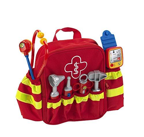 Theo Klein 4314 Rettungsrucksack I Mit Stethoskop, Spritze und vielem mehr I Elektronischer Blutdruckmesser mit Sound I Maße: 28 cm x 25 cm x 8,5 cm I Spielzeug für Kinder ab 3 Jahren, bunt