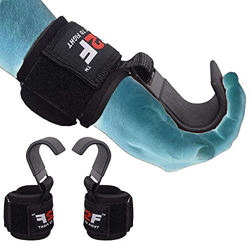 R2F Ganci Sollevamento Pesi Cinghie Bodybuilding Gancio Imbottitura Neoprene Fitness Crossfit Powerlifting Trazioni Allenamento Weight Lifting Hook Guanti Support Polso Palestra