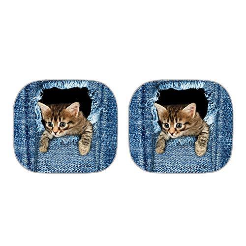 Toldo para parabrisas de coche TOADDMOS con diseño de gato, color azul vaquero y plegable para mantener tu vehículo fresco