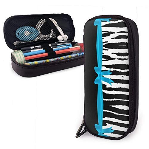 Baby Blue Zebra Animal Stripes Funda de piel para lápices Bolsa Estuche para lápices con cremallera Material escolar Papelería de gran capacidadCaja