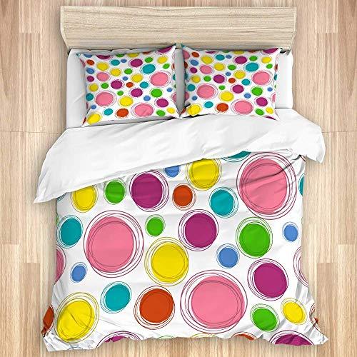 Juego de funda nórdica de 3 piezas, patrón de bosquejo para niños Doodle con círculos, lunares, color de fondo, juegos de fundas de edredón de microfibra de lujo para dormitorio, colcha con cremallera