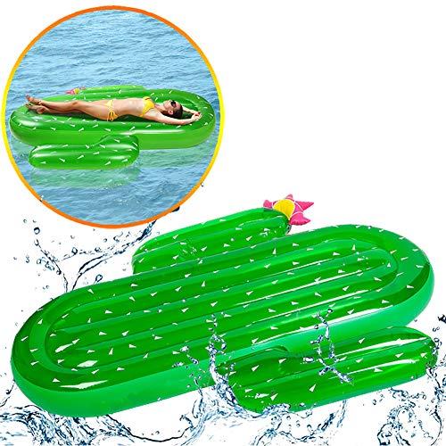 SLCE Luftmatratze Pool Kaktus, 180X140cm, Luftmatratze Wasser Aufblasbar, Kinderreisebett Aufblasbare Matratze, Aufblasbares Spielzeug Für Schwimmen, Als Wasserspielzeug, Für Erwachsene, Schwimmen