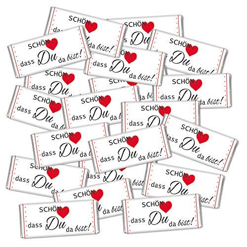 Tischdeko 20 mal Mini Schokolade give away Gastgeschenk Hochzeit süß Schön dass du da bist STEINBECK Minitafeln 20er Set Geschenk Mitgebsel Party Essen Fest Deko Dekoration Herz Betthupferl