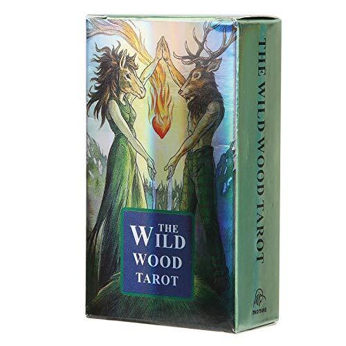 Divination-Spielkarten, einzigartige holografische Merkmale Divination-Karten-Deck, Divination-Karten-Spielzeug, verschleißfeste Party für Familieninteraktion Anfängerheim(wild wood tarot)