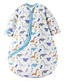 Chilsuessy Baby Schlafsack Winter mit abnembar Langarm Wattiert Babyschlafsack Kleine Kinder Ganzjahres Schalfsack Schlafanzug für Jungen und Mädchen, Dinosaurier/3.5 Tog, 120cm/Baby Höhe 110-130cm