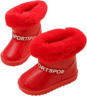 Hopscotch Girls Cloth Text Print Snow Boots in Red Color