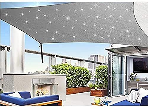 CHSSIH Sonnensegel Mit Led Beleuchtung Licht, Wasserdicht Polyester Oxford Stoff Mit 95{795c0961aa1892f4639d1bb164159ff94e81fd52249b3b705b494039caacddc2} Uv-Block Markisen Für Draußen Terrasse Balkon Und Garten,Grey-2X2m