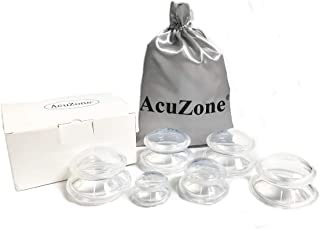Acuzone Silicone Cupping Therapy Set (6 Cups), No-Slip Silicone Massage Cups with Bag (4 Large, 1 Med, and 1 Small Cup)
