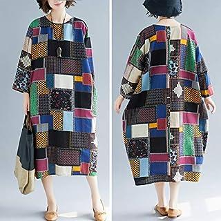 Festnight National Style,Ethnic Women Dress Cotton Linen Colorful Floral Geometric Pattern Print Pocket Baggy Maxi Gwon One-Piece