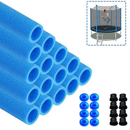 Aufun 16 STK. Trampolin Stangenschutz Schaumstoff inkl. 8 Kappen, 92cm Lang für Trampolin Universal, Blau