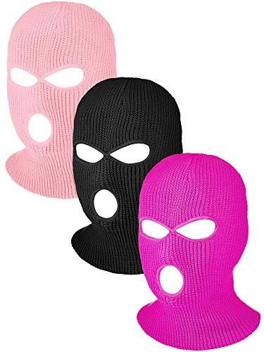 Hicarer 3 Pasamontañas Envoltura de Cabeza Cubiertas Faciales de 3 Agujeros de Esquí de Punta de Deporte de Invierno al Aire Libre (Negro, Rosa, Rosado)
