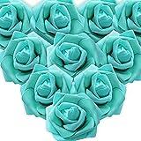 MEJOSER 50pcs Flores Rosas Artificiales en Espuma Cabezas de Rosa 7cm Rosas Falsas Decoración Boda Mesa Fiesta San Valentín Hogar Manualidades Oso Color Azul & Verde