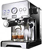Italiana del café express de la máquina eléctrica, 15 bar, semi-automático de espuma de leche...
