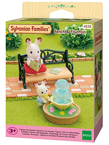 Sylvanian Families 4535 Gartenbank mit Springbrunnen - Puppenhaus Einrichtung Möbel
