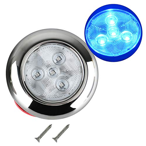 Amarine Made 12V DC 3 Blue 4 LED Polished Stainless Steel Housing Round LED Courtesy Light, LED Puck Light
