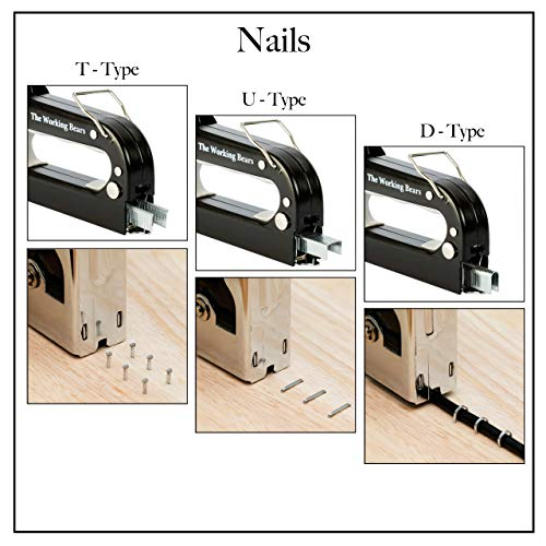 3 IN 1 STAPLE GUN WITH STAPLES - 2400 STAPLES - STAPLE GUN FOR WOOD, UPHOLSTERY, CANVAS, FURNITURE AND WIRE FENCING - SMALL MANUAL HEAVY DUTY STAPLER - U-TYPE, T-TYPE, D-TYPE SHAPED STAPLES
