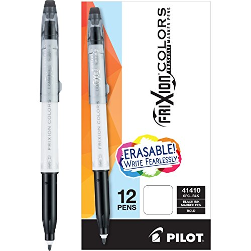 PILOT FriXion Colors Erasable Marker Pens, Bold Point, Black Ink, 12-Pack (41410)
