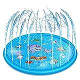 Cojín de Agua Inflable de 68 Pulgadas Cojín de Rociadores de Agua Patrón de Tiburón Colchoneta de Agua Juegos de Niños Cojín de rociador Juguetes,Dolphin