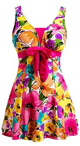 Ecupper Damen Badekleid Blumen Muster Gepolstert Badeanzug mit Shorts Bademode Große Größen. Rosa Etikett 4XL