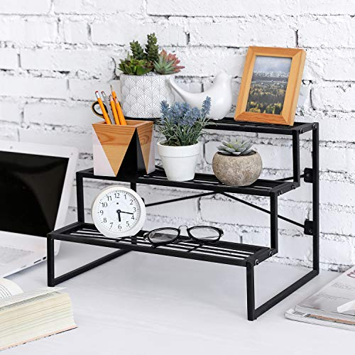 MyGift 3 Tier Modern Black Metal Wire Tabletop Potted Plant Riser Stand Stair-Step Display Rack