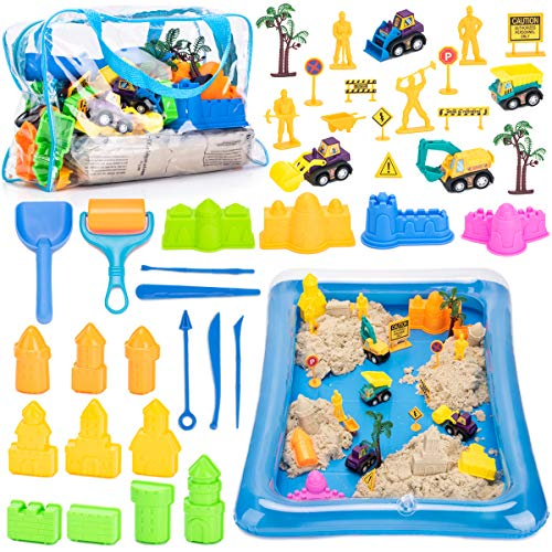 Bikilin's toy Play Sand Kit for Kids, 43Pcs Sandbox Toys Set Include 3lbs Magic Sand, Sand Molds Tools, Construction Trucks, Sand Tray and Storage Bag, Outside Toys for Kids, Toddlers Ages 2-7