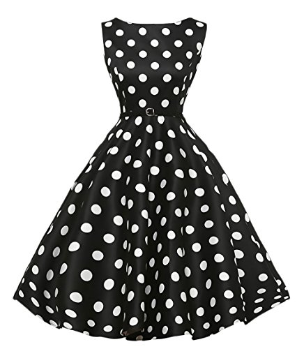 Saoye Fashion Vestito Anni 50 Donna Vintage Rockabilly A Pois Abito da Sera Elegante Smanicato...