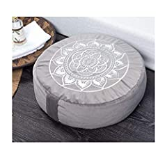 "💮 DIMENSION: 16"" diameter x 5"" height 💮 MATERIAL: Our buckwheat meditation cushion is filled by 100% buckwheat hull. Cover is removable and made of ultra soft velvet fabric. 💮 BENEFITS: We use high quality, made-to-last materials with the best buckwh..."