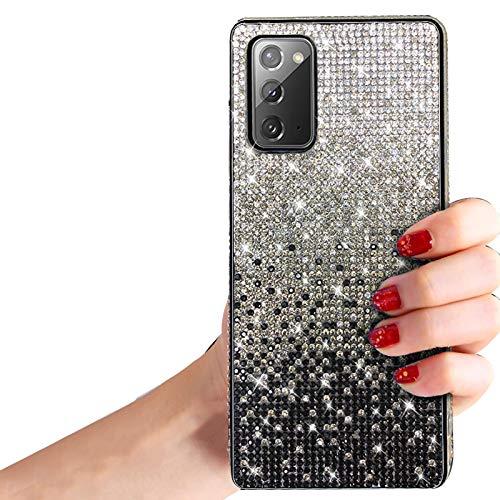 Shinyzone Bling Glitzer Hülle für Samsung Galaxy Note 20,Funkeln Kristall Strass 3D Hausgemachte Diamant Full Cover Ultradünn Weiche Bumper Schutzhülle für Samsung Galaxy Note 20,Schwarz