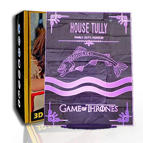 JINYI Logotipo de LED Luz nocturna Thrones, lámpara de ilusión 3D, decoración del hogar para niños, G- Control de Telefonía Móvil, Regalo para niño, Lámpara cálida