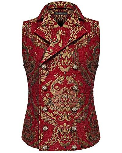 Devil Fashion Hombre Chaleco Oro Rojo Damasco Gótico Steampunk Aristocrat - Rojo, M