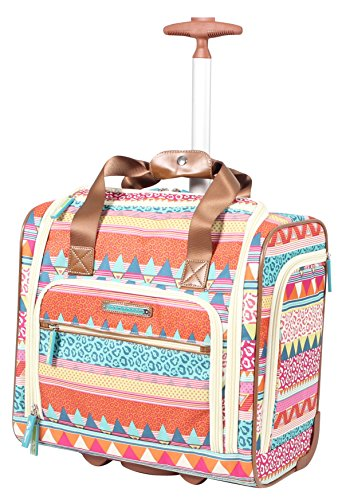 Lily Bloom Designer 15 Inch Carry On - Weekender Overnight Business Travel Luggage - Lightweight 2- Rolling Wheels Suitcase - Under Seat Rolling Bag for Women (On the Prowl)