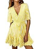 PRETTYGARDEN Women's Sexy Deep V Neck Short Sleeve Striped Wrap Ruffle Hem Pleated Mini Dress with Belt Black (Yellow, Small)