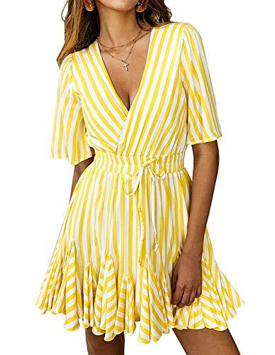 PRETTYGARDEN Women's Summer Deep V Neck Short Sleeve Striped Wrap Ruffle Hem Pleated Mini Dress with Belt Yellow