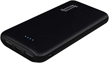Tonv Portable Power Banks 10000mah Black Slim Type with Dual-Port USB Charger Design Compatible with Samsung and iPhone and More (10BK)