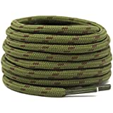 DELELE 2 Pair Non-slip Outdoor Mountaineering Hiking Walking Shoelaces Round Army Green Brown String Rope Boot Laces Strong Durable Bootlaces-55.12'