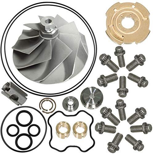 7.3L Turbo Compressor Wheel & Upgraded GTP38 Rebuild Kit for Garrett TP38 1994-2003 Ford Powerstroke 446579-0001 170293-360° Thrust Repair Kit By TOPEMAI