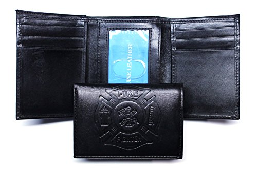 Firefighter Logo Embossed Leather Wallet