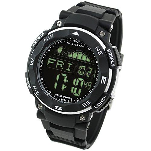 Lad Weather Tide Graph 腕時計 ムーンフェーズ 釣り サーフィン アウトドア ブラック / ブラック