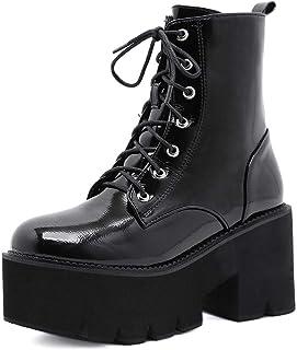 Bottines Femme Lacets Plateforme Talons Hauts Mi-Mollet Knight Boots Punk Chaussures De Loisirs 34-45