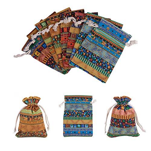 NBEADS Bolsa de Regalo, 20 Piezas 4 Colores de Tela con Cordón Bolsas de Embalaje Estilo Japonés para Dulces Joyas Regalo Boda Fiesta Favor, 14x10 cm