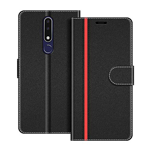 COODIO Handyhülle für Nokia 3.1 Plus Handy Hülle, Nokia 3.1 Plus Hülle Leder Handytasche für Nokia 3.1 Plus Klapphülle Tasche, Schwarz/Rot
