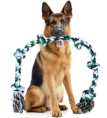 Giant Dog Rope Toy for Extra Large Dogs - 42 Inch Long 6 Knot XXL Dog Rope Toy for XL Dog - Benefits Non-Profit Animal Rescue - Indestructible Dog Toy for Aggressive Chewers and Large Dog Breeds