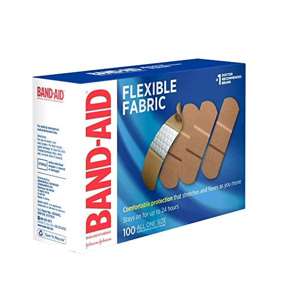 Johnson & Johnson Band-Aid Brand Flexible Fabric Adhesive Bandages for Wound Care and First Aid, All One Size, 100 Count… 8 100-count Band-Aid Brand Flexible Fabric Adhesive Bandages for first aid and wound protection of minor wounds, cuts, scrapes and burns Made with Memory-Weave fabric for comfort and flexibility, these bandages stretch, bend, and flex with your skin as you move, and include a Quilt-Aid comfort pad designed to cushion painful wounds which may help prevent reinjury These Band-Aid Brand Flexible Fabric adhesive bandages stay on for up to 24 hours and feature a unique Hurt-Free Pad that won't stick to the wound as they wick away blood and fluids, allowing for gentle removal
