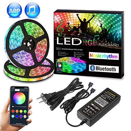Preisvergleich Produktbild Nicetai Bluetooth LED Streifen RGB10M (2x5m) 32, 8Ft 5050 300LED Stripes mit Smart Bluetooth Kontroller+ 12V Netzteil für Haus,  Garten,  Dekoration