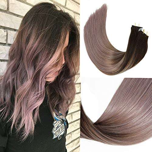 HUAYI Brown To Milky Lavender/Pink Mauve Ombre 50g 14inch 20Pcs Tape In Hair Extensions Human Hair Soft Thick End Tangle Durable Silky Straight Balayage Hair Extensions (2TG#14)