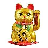 Lucky Fortune Cat Lucky Cat con brazo agitando dorado chino Feng Shui Deoration Lindo gato para oficina en casa